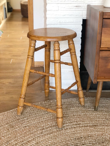 Vintage Oak Stool, Plant Stand or Small Side Table