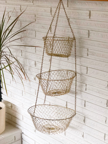Gold Wire Hanging Fruit Basket