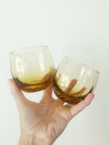 Pair of Amber Drinking Glasses