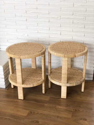 Pair of Brand New Round Rattan Side Tables or Night Stands w/ Shelf