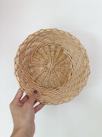 Round wicker basket, catch all or wall decor