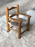 Vintage Wood and Wicker Doll Chair