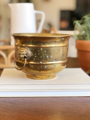 Vintage Brass Planter w/ Lions Head and Rings