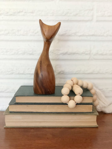 Hand Crafted Mid Century Wooden Cat
