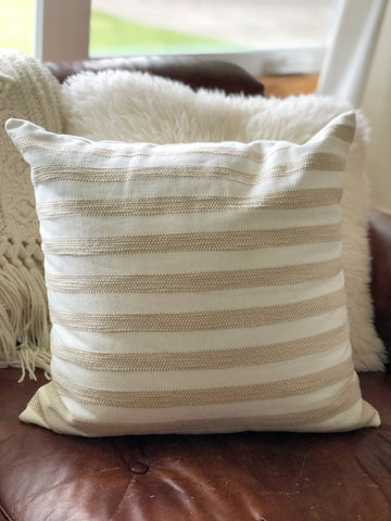 Beige & White Striped Textured Throw Pillow