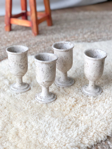 Set of Four Vintage Stone (possibly limestone) Goblets