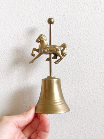 "Vintage brass carousel horse bell 6"" tall"