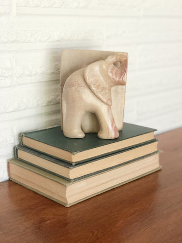 Weighty Soapstone Elephant Bookend