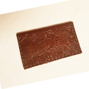 Card fold wallet (chocolate hand-tooled leather)