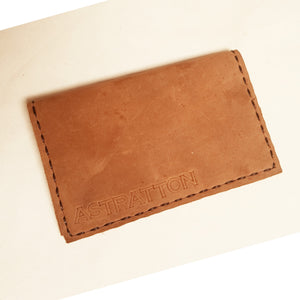 Card fold wallet (Dark gold smooth chap leather)