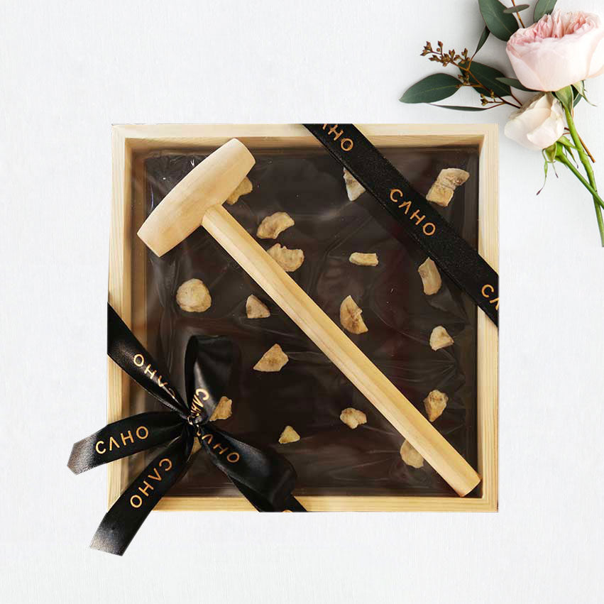 Banana Dark Chocolate in Wooden Box - Caho Chocolatier
