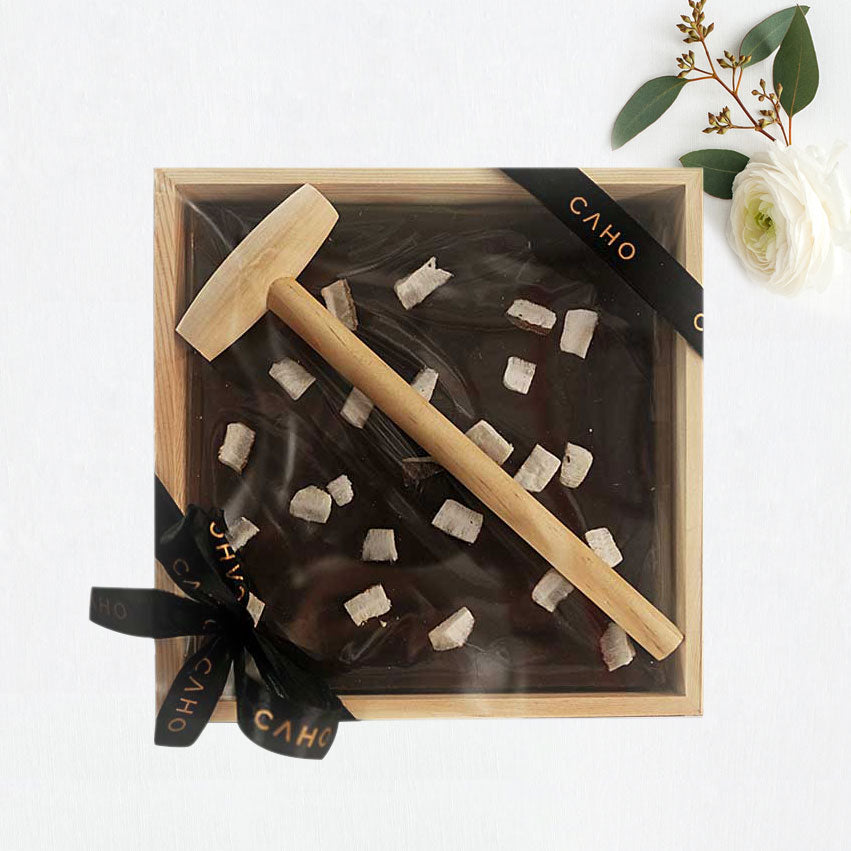 Coconut Dark Chocolate in Wooden Box - Caho Chocolatier