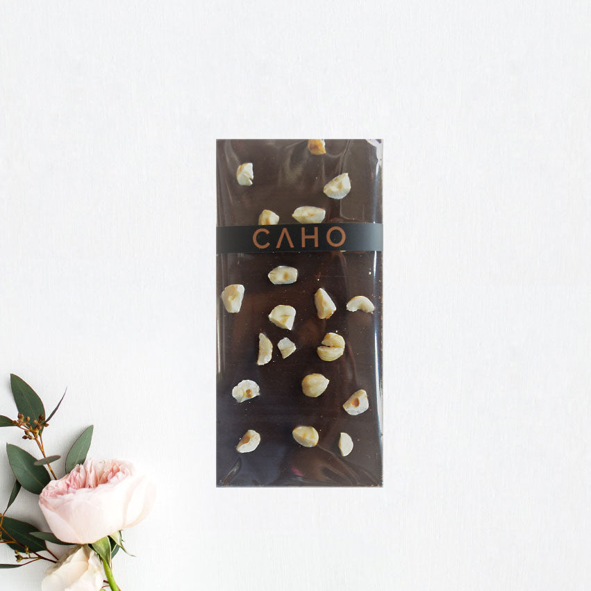 Hazelnut Dark Chocolate Bar - Caho Chocolatier