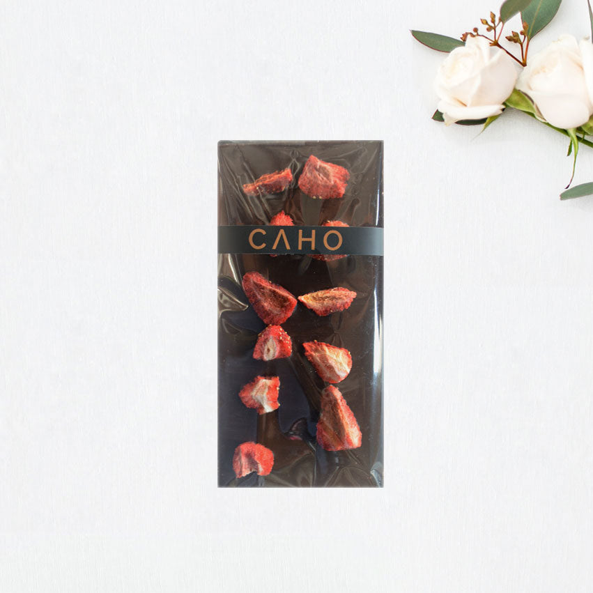 Strawberry Dark Chocolate Bar - Caho Chocolatier
