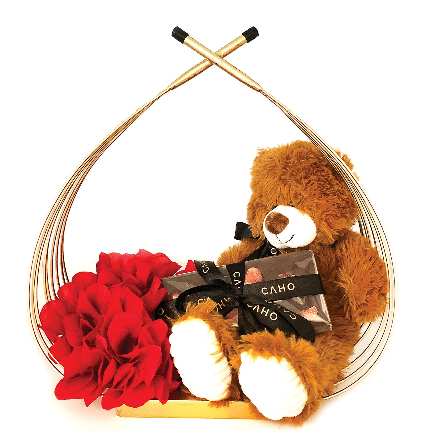 Plush Teddy Bear Vegan Basket - Caho Chocolatier