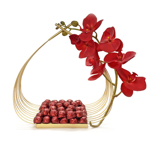 Orchid basket with Chocolate - Caho Chocolatier