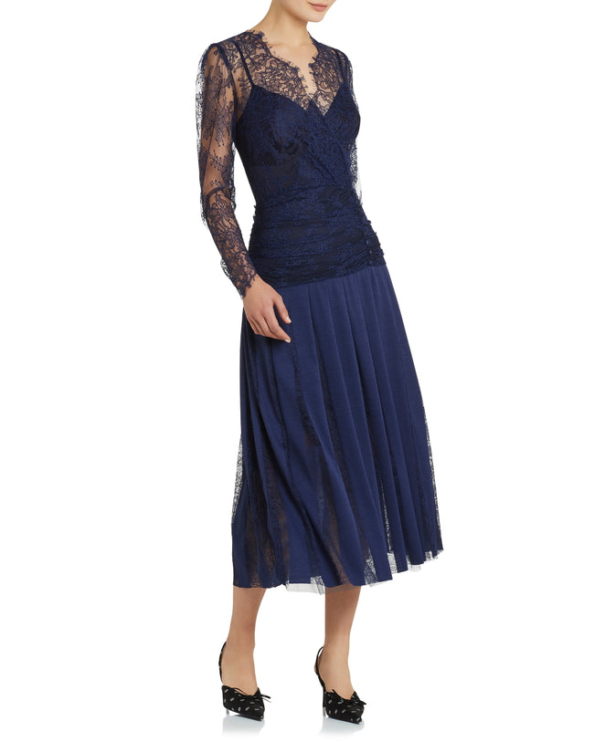 Florence Ruched Dress - Navy