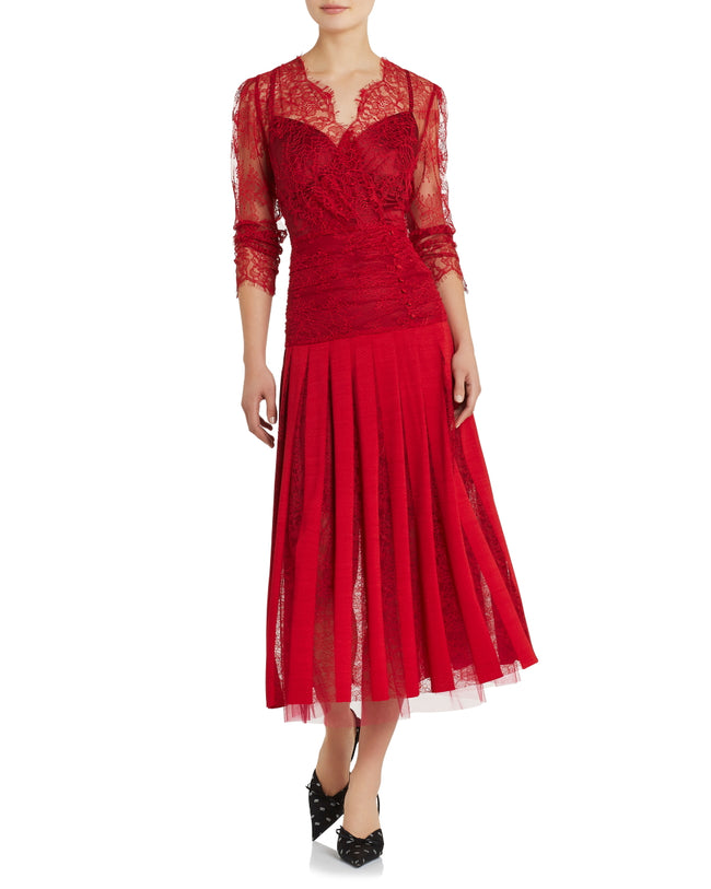 Florence Ruched Dress - Red