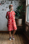 David Pond Venice Dress Red Flower