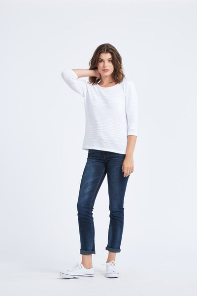 3/4 Sleeve Stripe Top - Optimum