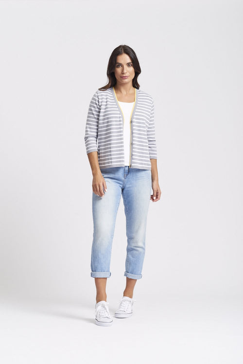 3/4 Sleeve Stripe & Daisy Cardigan - Pewter