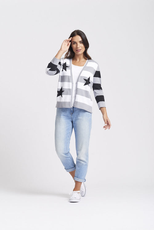 3/4 Sleeve V-Neck Star & Stripe Cardigan - Pewter Mix
