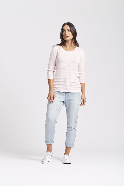 3/4 Sleeve Round Neck Mock Ribbon Sweater - Optimum