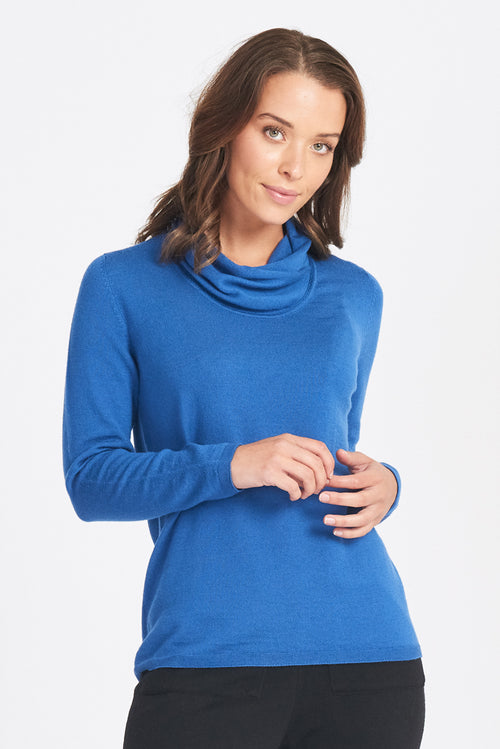 Wrap Neck Jumper - China Blue