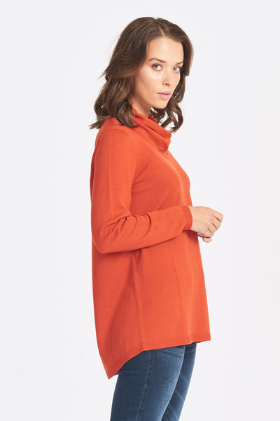 Relaxed Fit Wrap Neck Jumper - Pumpkin