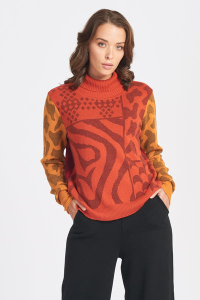 Colour Block Print Jumper