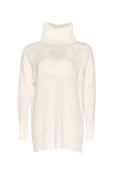 Cable & Rib Spliced Sweater - White and Ice Blue