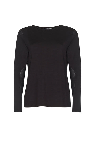 Leather Patch Merino Top - Black