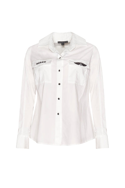 High Collar Back trim Shirt - White