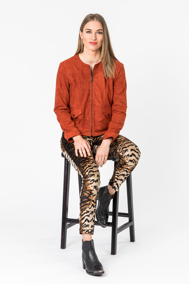 Collarless  Faux Syede Short Jacket - Burnt Orange