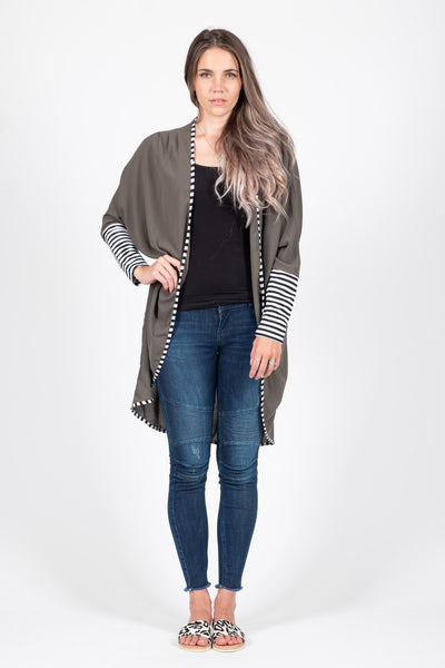 Cardigan Top - Olive - White Chalk