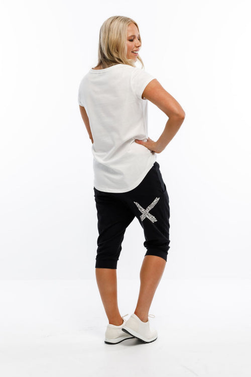 Home Lee 3/4 Apartment Pants - Black with Paper Plane X Print