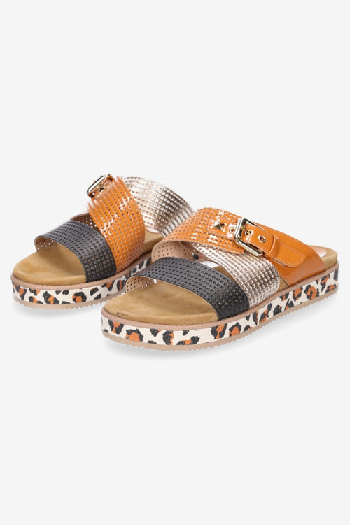 Hey Monday Bella Sandal - Tan/Leopard