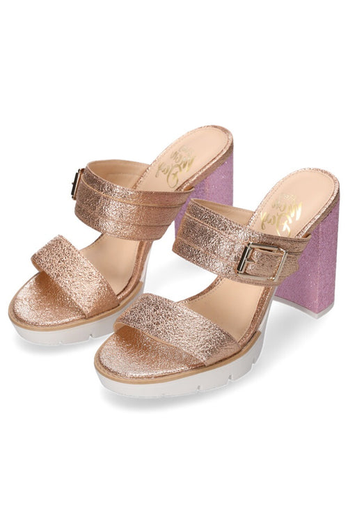 Hey Monday Alexis Heel - Gold Shimmer/Pink