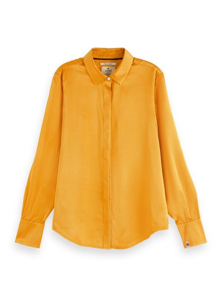 Scotch & Soda Classic Silk Shirt - Orange Dusk