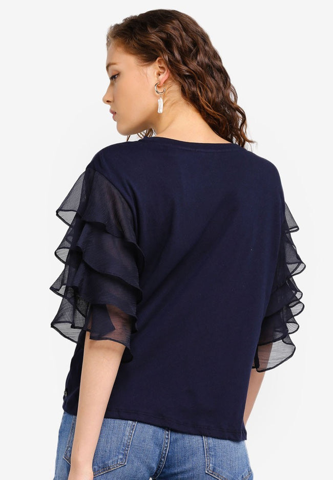 Ruffle Top Navy - Scotch & Soda