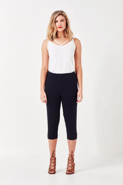 Vienna Cropped Pant Navy - Lemon Tree