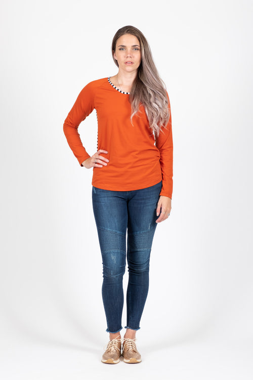 Long Sleeve - Rust - White Chalk