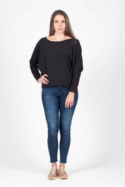 Oversize Top - Black - White Chalk