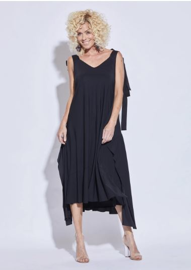 Ribbon Shoulder Dress - Black