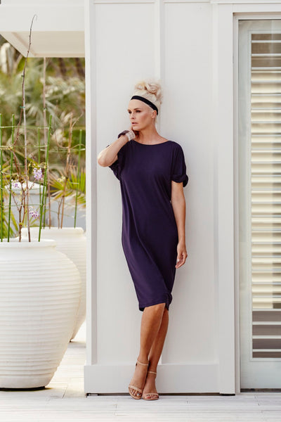 Soft Tunic with Ruched Sleeve 1x Med Navy - Paula Ryan
