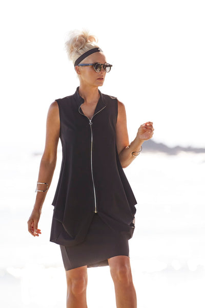 Zip Front Sleeveless Jacket