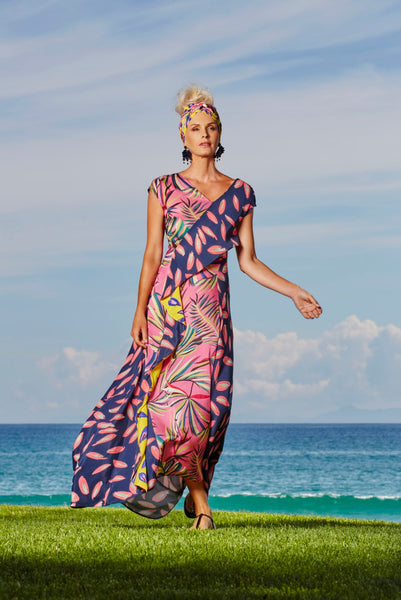 Mixed Print Wrap Around Dress - Paula Ryan
