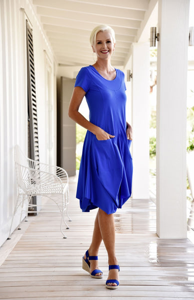 Tuliped Skirt Scoop Neck Cap Sleeve Dress - Paula Ryan