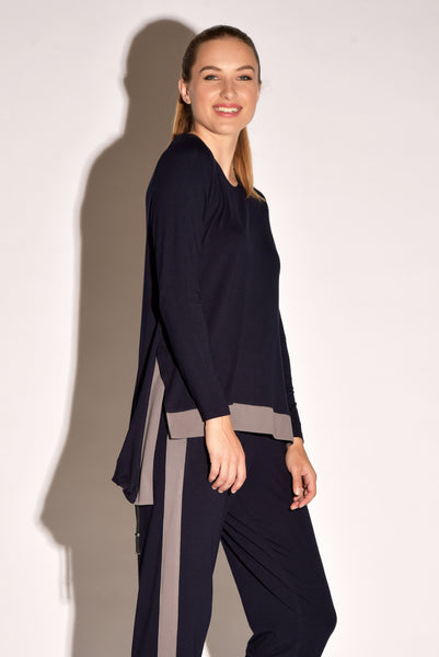 Draw Cord Hem - Long Sleeve Contrast Band