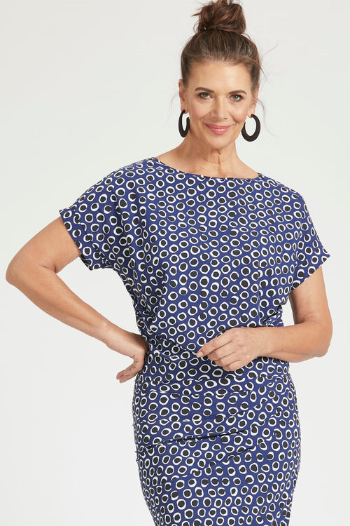 Paula Ryan Boat Neck Tuck Slide Cuffed Top - Indigo Spot